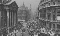 A victorian street during a busy day