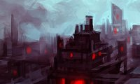Sound of running amidst a cyberpunk urban backdrop