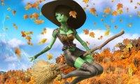 Ride a magic broom through the autumn skies