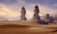 Adventurers traveling through a desert