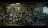 Cyberpunk hacker's underground safehouse.