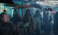 A cyberpunk city.