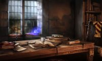 Gryffindor common room during a thunderstorm.