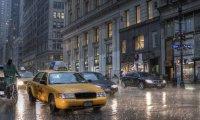 busy rainy new york city
