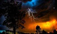 Main Thuner Storm Theme with Rain Fireplace Wind