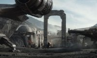 A City Spaceport with a dystopian star wars/bladerunner feel