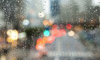 Late night city rain
