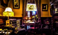 Victorian age pub, library, room with clock