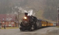 Steam train in a thunderstorm