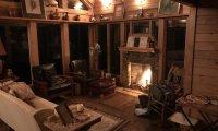 Rainy Night by the Fireplace