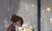 Leitura em uma cafeteria, em tempos de chuva