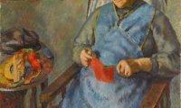 Granny knitting, child playing