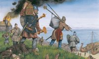 An attack on a medieval or pre-medieval village