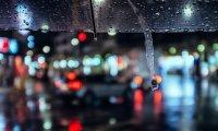 Walking in the rain downtown