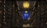 Hogwarts library on a calm afternoon