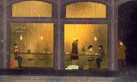A cozy, rainy day in a city cafe, with some quiet jazz playing.