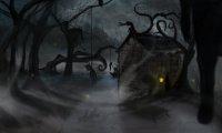 A creepy dark wood.