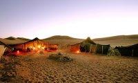 a nomadic tribe at night