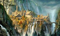 Rivendell waterfall and harp