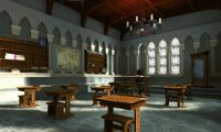 Studying in class at Hogwarts