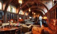 The Hogwarts Library, with rain pattering on the windows and a warm fire crackling as we study.