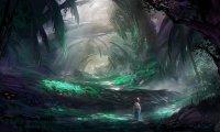 Dark Windy Forest