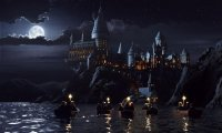 Hogwarts library with storm