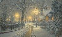 Thomas Kinkade Inspired Winter Evening