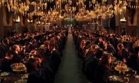 A lively dining hall at Hogwarts
