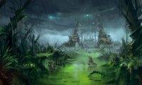 A dark, dreary swampland.
