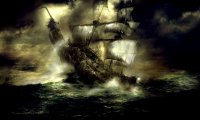 A ship sailing through a storm