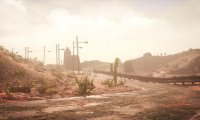 desert/arid landscape, metallic environmental sounds, electronic/technological sounds