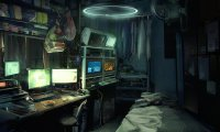 A quiet night in a tiny Cyberpunk apartment