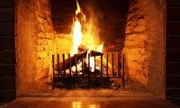 fireplace on a cold rainy day