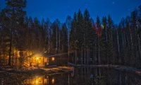 Relaxing night inside your warm cozy cabin.