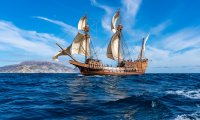 A Calm Pirate Ship out on the Sea