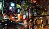 Rainy and crowded cyberpunk friday night