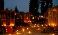 a gypsy camp at night