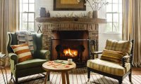 Reading a Book by a Crackling Fireplace