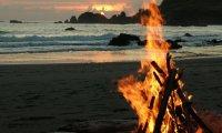 A beach campfire...