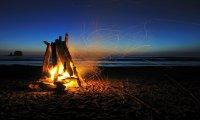 Peaceful Beach at Night