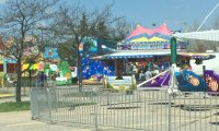 A summer carnival on a hot day