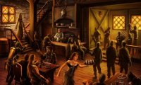 You enter into a busy, crowded tavern in the center of town.