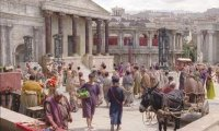 Early morning on a quiet day in a Roman city around 3rd century BC