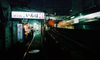 A cyberpunk train crossing a thunderous storm