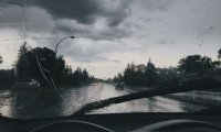 Driving to work in the rain