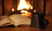 Reading by the fire.