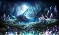 You follow a stream into a cave deep underground where crystals sprout from floor and ceiling