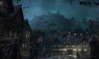 Fantasy town at night