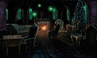 Inside the slytherin common room, sat next to an underwater window